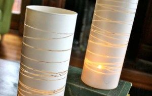 DIY : Striped Vases.. designed with rubber band or twine white spray
