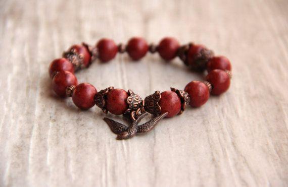 Bird βραχιόλι σφουγγάρι κοραλλιογενείς σκούρο κόκκινο Unisex Brass Stretch βραχιόλι γιόγκα γυναικών boho βραχιόλι δώρο έμπνευση κοσμήματα πολύτιμων λίθων κάτω των 20 ετών
