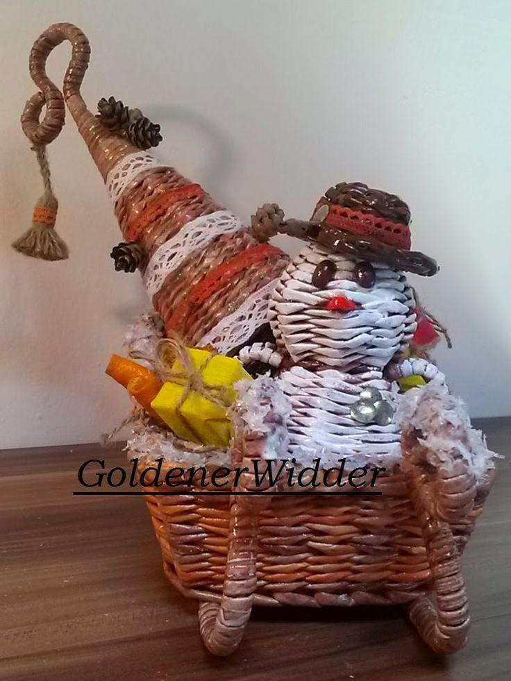 Плетение из газетных трубочек: Снеговик. Новогодняя поделка. Плетение из 8 трубочек. Лёгкое начало.