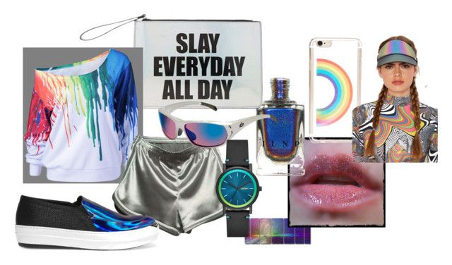 rgb by ayozimhere on Polyvore featuring WithChic, McQ by Alexander McQueen, Forever 21, DKNY, Bolle, All My Walls and ILI