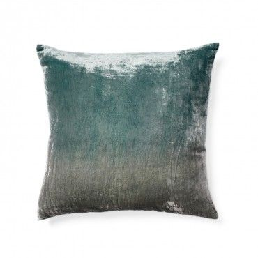 "$72  18""x 18"" Ombre Gray/Blue Velvet Pillow  Area: Living room couch"
