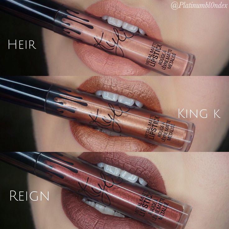 Kylie cosmetics metal matte lipstick swatches : heir , King k , reign