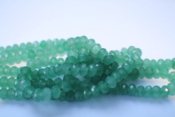 faceted rondells aventurine by LolaBosco on Etsy, $1.50
