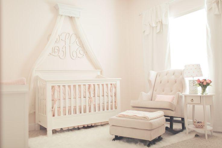 Pink Simplicity Nursery - love these sleek furniture pieces + decor!