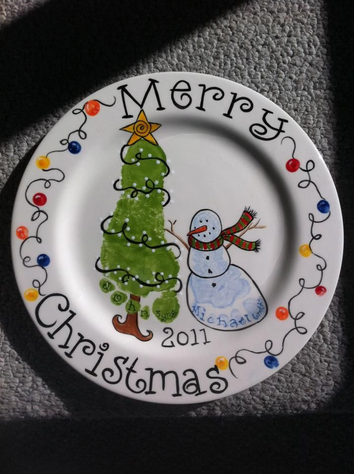 Cool Christmas Plate - tree and snowman foot prints