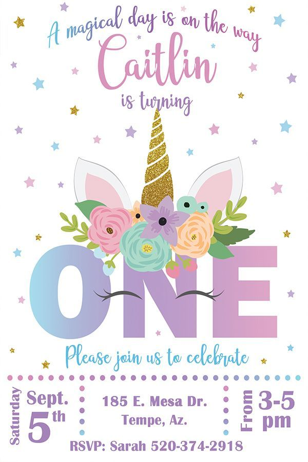 unicorn invitation first birthday