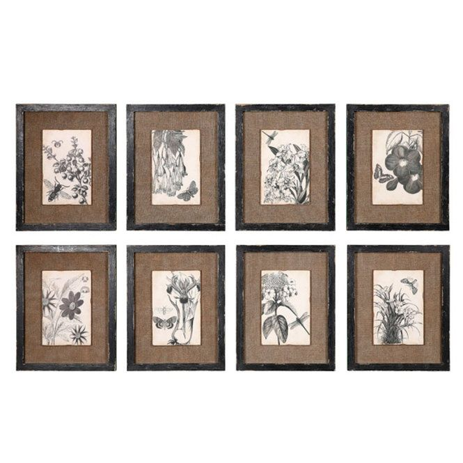 Check out 14x11 Set of 8 Framed Burlap and Botanical Prints from Shades of Light