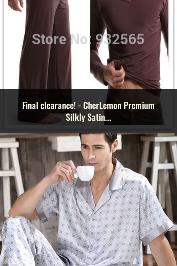 c96c4fe4bf CherLemon Premium Silkly Satin Mens Pajamas Sleepwear Classic Long Sleeved  Button Down Solid Nightwear Soft Autumn