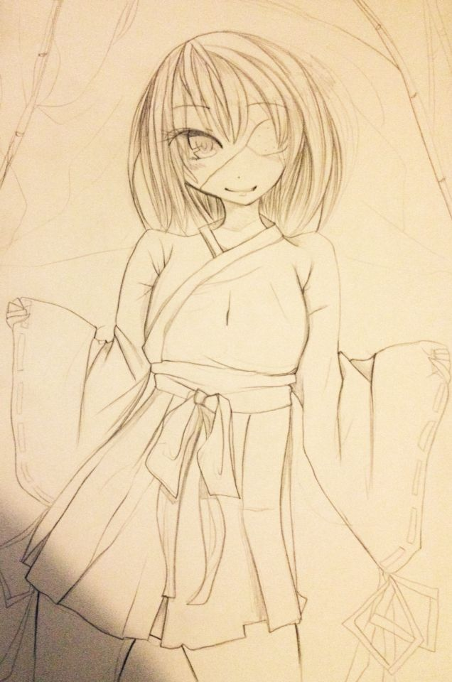 """Reference practice art :3 """"anime manga kimono bamboo girl eyepatch"""""""