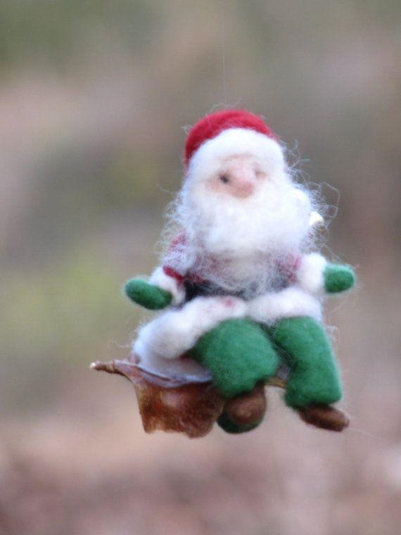 Aguja de fieltro adornos de Navidad de Santa Claus
