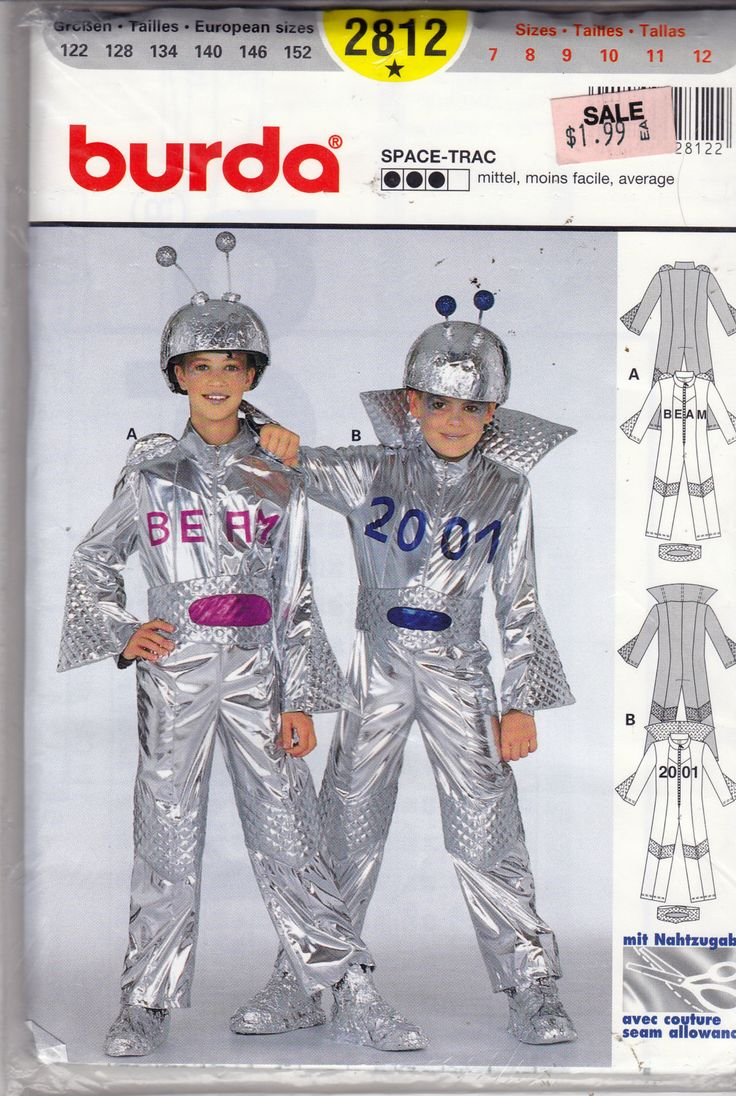 Uncut Burda Sewing Pattern - SPACE COSTUME Space Trac - Size 7 - 12 - Silver Space Suit with Antenna - Spaceman Outer Space Alien by EveryPicTellsAStory on Etsy https://www.etsy.com/listing/176160749/uncut-burda-sewing-pattern-space-costume