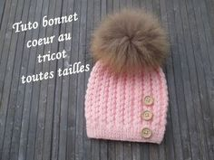 TUTO BONNET COEUR AU TRICOT Heart beanie hat knitting GORRO PUNTO CORAZON DOS AGUJAS - YouTube