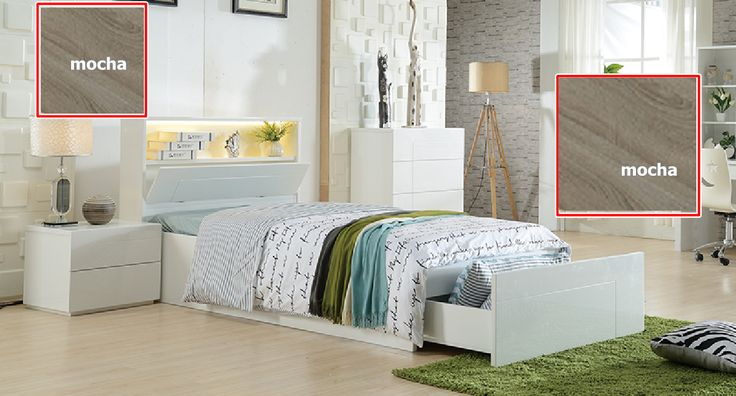 KING  SINGLE GADDY (LS-081) BED WITH SIDE OPEN LIFT / BEDEND DRAWER AND LED LIGHT (MODEL 4-5-12-20-1) - MOCHA