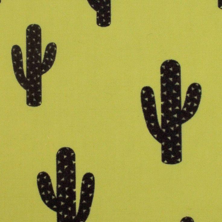 Cactus, misto poliestere cotone, finocchio Tessuto giallo verde Kimsa