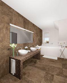 #ванная #дизайн #дом #мансарда #раковина #чаша #мозаика #крупная #плитка #коричневый