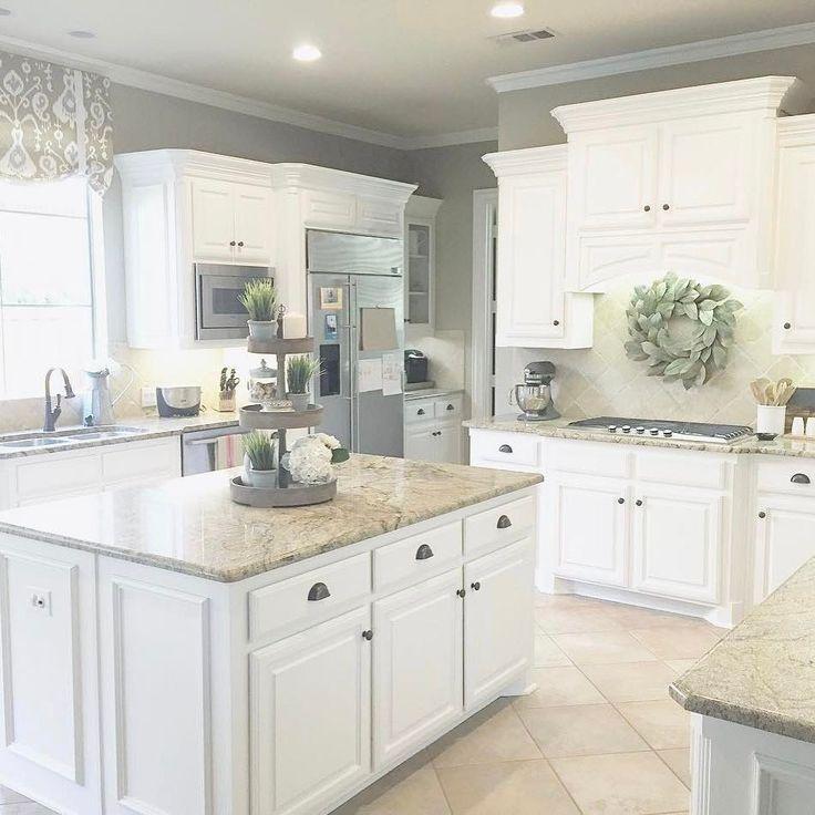 "2,730 Likes, 29 Comments - ANTIQUE FARMHOUSE (@antiquefarmhouse) on Instagram: ""# @thirty1twenty5 Such a gorgeou #whitekitchen and love your enormous #kitchenisland and our…"""