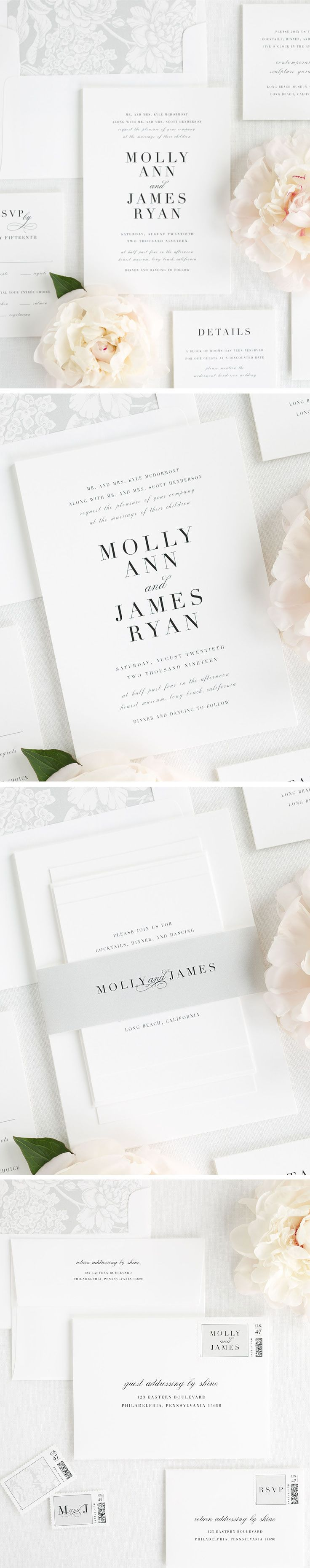 Let your wedding day shine with our 2017 collection design, Serif Romance. This simple and classic wedding invitation mixes a romantic serif font and soft script to make a big statement. This wedding invitation suite features a pretty gray floral envelope liner and is perfectly wrapped up with a belly band in silver gray. Personalize you perfect wedding invitation with Shine!