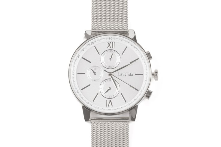 """Luna Pyxis Big dial silver Milanese strap metal watch with roman numerals.   Dial size: Ø4,3cm (1.69"""")  Bracelet: adjustable length from 16 to 21cm (6.9"""" to 8.27"""" ) / width: 2cm (0.79"""")  Color: Silver  Clasp type: Hook buckle  Movement: Japanese Movement  Manufacturer: Designed in South Korea  Material: Stainless steel, waterproof back"""