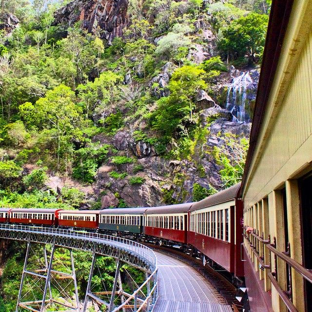 The Kuranda Scenic Railway crosses dramatic trestles, winds past gushing waterfalls, and traverses the sea-deep Barron Gorge National Park in the hour and 45 minutes it takes to get from Cairns to Kuranda. Photo courtesy of danflyingsolo on Instagram.