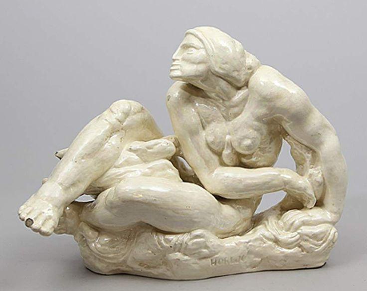 Horejc, Jaroslav (1886 Prag 1983) Art Deco-Skulptur eines weiblichen Aktes. Keramik mit heller, lüs