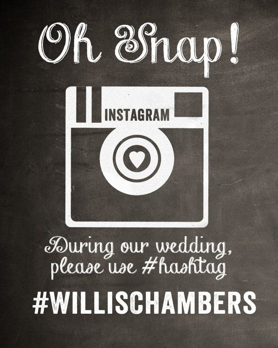 Chalkboard Instagram Wedding Sign by MostazaSeedGraphics on Etsy, $17.95
