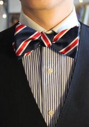 Christmas Offer! Self tie bow, Red and blue stripe  http://shop.gorstudio.com/#