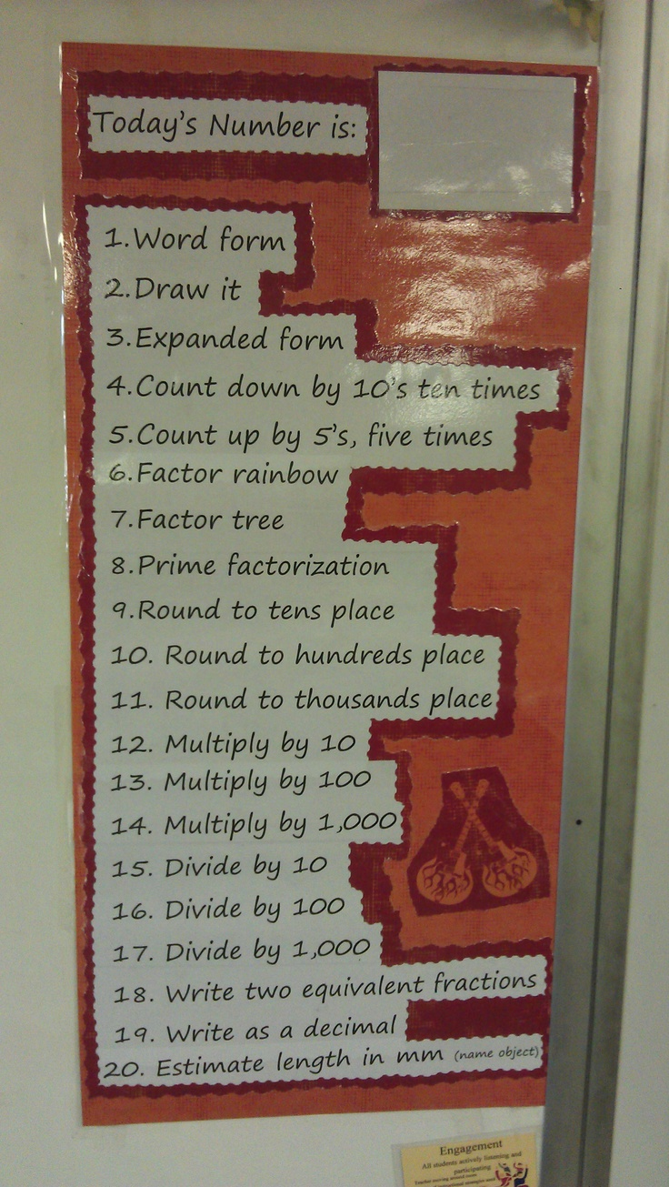 Daily Number Exercise---My Version.  I tried this out with the kids today, and made up a permanent poster.  I already love it!  Inspired by another pin:: Today Numbers, Schools Ideas, Math Ideas, Mornings Work, Daily Math, Mountain Math, Classroom Ideas, Math Warm, Creative Classroom