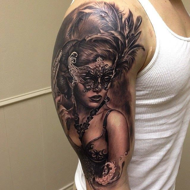 Another amazing Venetian Mask sleeve by Rember Orellana  - seriously can't decide which one of these we like best!  Laser Tattoo Removal Sydney | Tattoo Ideas Gallery - Unwanted Ink Laser Tattoo Removal