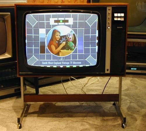 The good old BBC Test Card on a good old TV set.....tellin yu everytin lock offfff lol