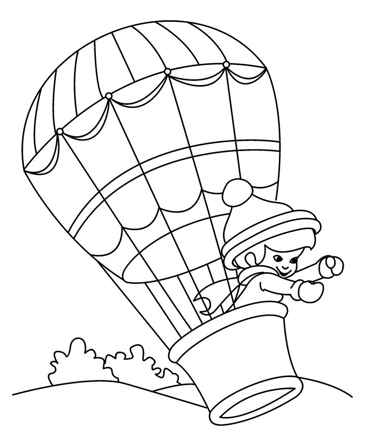 hot air balloon coloring page pictures