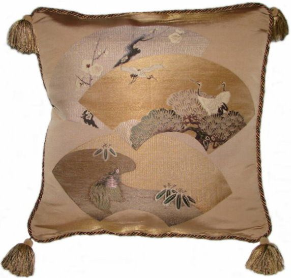Asian Decorative Accents | Antique Asian Decor: Fukusa Accent Pillow Fans, Cranes and Turtle from ...