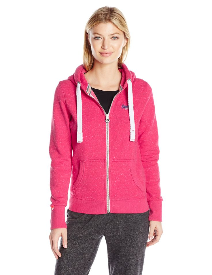 Superdry Women's Orange Label Primary Zip Hoodie, Chick Pink Snowy, Medium. Plush fleece zip up hoodie with drawstring hood. Two front pockets. Embroidered Superdry logo on chest.