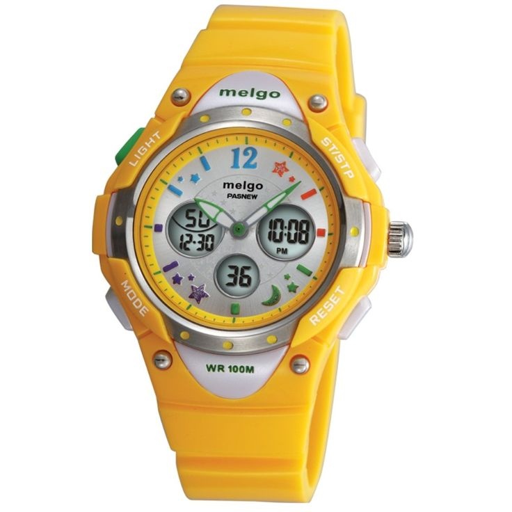 Jewtme Water-proof 100m Dual Time Unisex Child Outdoor Sport Watch Yellow. Japanese High quality movement. Long Battery Life. Suitable for wrist 11cm - 19cm. Over Age 6 years old . Safe and non-toxic plastic strap, no harm to children's Skin. It is also very suitable for outdoor sports. Functions:Noctilucent, EL backlight, Alarm, Chronograph, Hourly chime function, Date& Time, Dual time (two movement), Water-resistant 100 m. Easy to set up. It is able to operate it by children own. Nice...