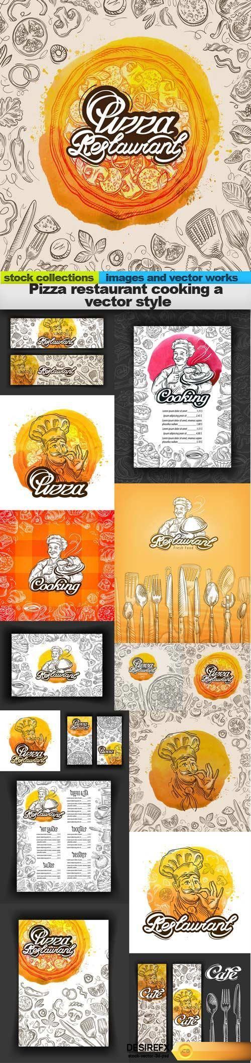 Find your Grapfix Desire With US http://www.desirefx.me/pizza-restaurant-cooking-a-vector-style-15-x-eps/