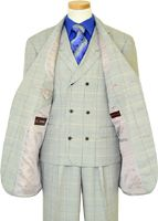 Extrema Light Grey With Royal Blue / Brown / Cream Windowpanes Super 140's Wool Vested Suit HA00219 - $599.90 :: Upscale Menswear - UpscaleMenswear.com