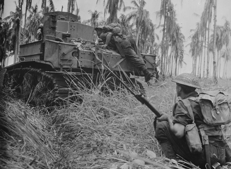 M3 Stuart light tank with Australian troops attack Japanese pillboxes at Giropa Point Papua on 2 January 1943 [80535902] http://ift.tt/2g0HtU1