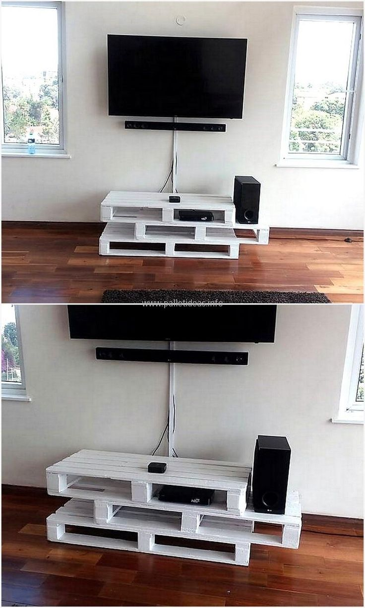 There are many types and styles of TV stand available in the market, but the Pallet tv stand made at home using the reclaimed pallets show the creativity of the individual. See the TV stand yourself and decide you want to create it yourself or want to buy from the market.