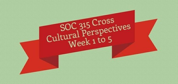 SOC 315 Cross Cultural Perspectives Week 1 to 5 Week 1 Discussion 1, Political Culture Policy Preferences Discussion 2, Social Movements and Technology Quiz  Week 2 Assignment, American and European Values Gap Discussion 1, Tradition and Modernity Discussion 2, Legacy of Slavery and Imperialism in Africa Quiz  Week 3 Assignment, Annotated Bibliography Discussion 1, Five Dimensions of Western Countries Discussion 2, Muslims in Germany Quiz  Week 4 Discussion 1, China's Rise to Power