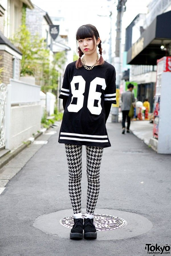 Yumi works at the super-popular #Harajuku boutique Nadia. Her outfit features a Topshop varsity dress w/ Tokyo Bopper shoes & accessories from Vivienne Westwood & Boy London.