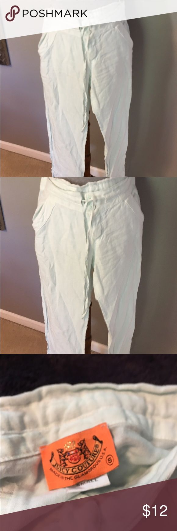 Juicy Couture Linen cropped pants w/Tie. Juicy Couture Linen cropped pants low waisted w/Tie. Color is a ice Mint. Draw string waist with buttons, draw string bottoms. 24' long, Juicy Couture Pants Capris