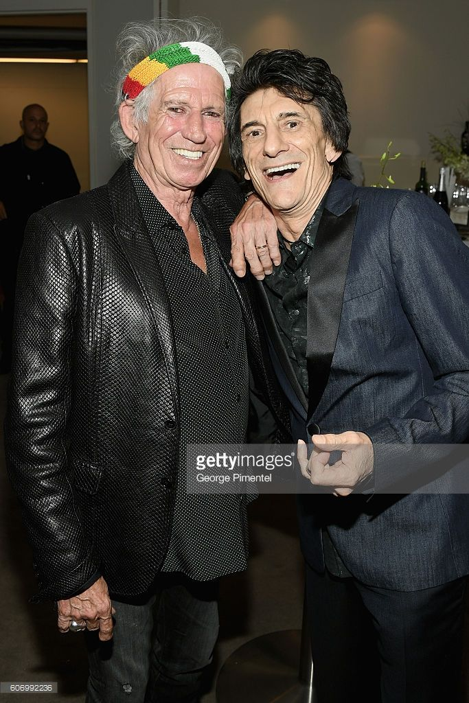 Musicians Keith Richards (L) and Ronnie Wood attend 'The Roling Stones Ole Ole…