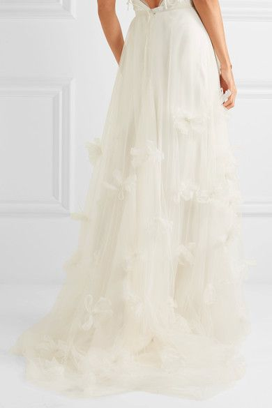 Halfpenny London - Ozzie Organza And Feather-appliquéd Silk-blend Tulle Maxi Skirt - White - UK10