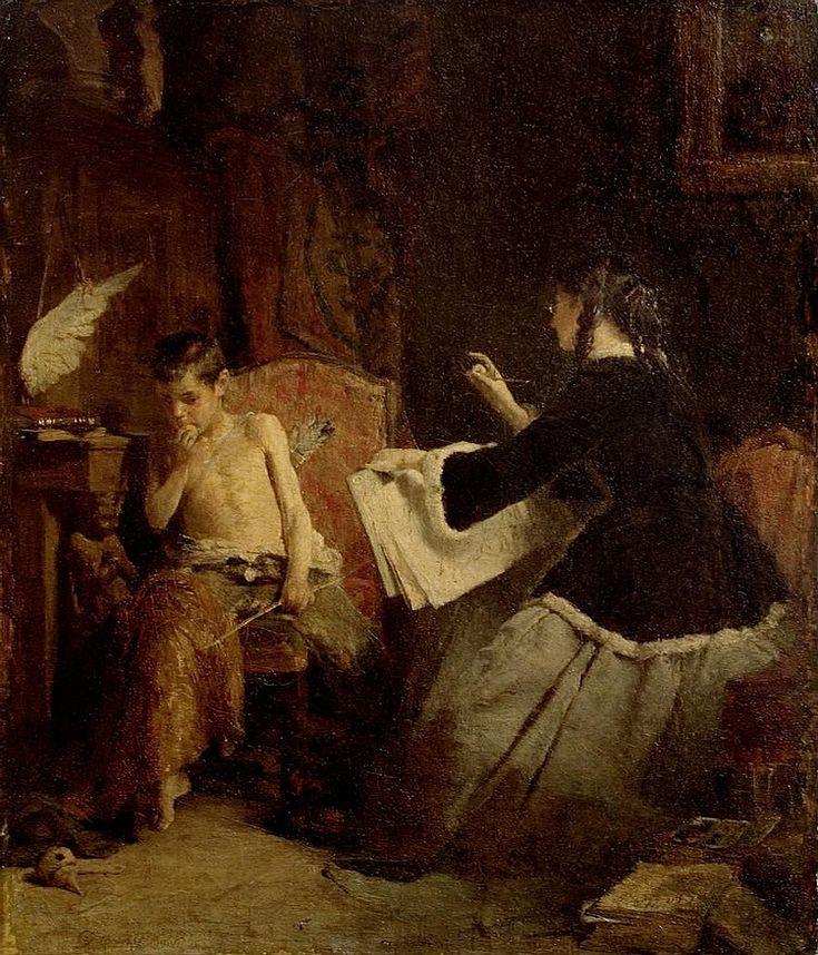 Nicholaos Gysis (Greek, 1842-1901) Eros e a estudante de pintora