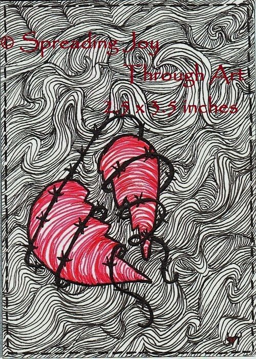 ACEO Joy oRiGiNaL February Art Valentine Love Heart Barb Wire Broke Ink Surreal #Miniature