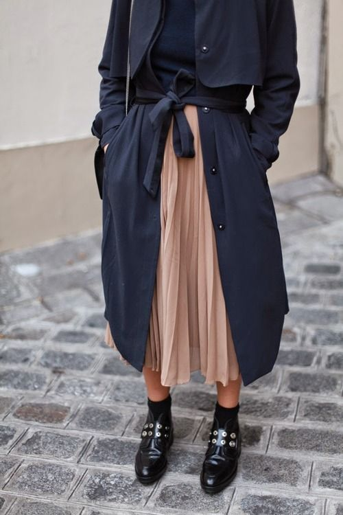 navy trench, pleated pink skirt & boots