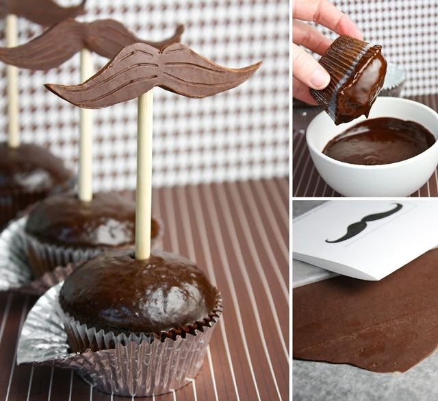 Sprinkle Bakes: Mustache-Topped Chocolate Cupcakes for Father' s Day
