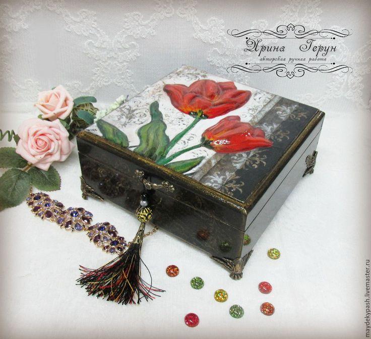 """Купить Шкатулка  для украшений """"Тюльпаны"""" - шкатулка для украшений, шкатулка, шкатулка ручной работы, шкатулка для мелочей"""