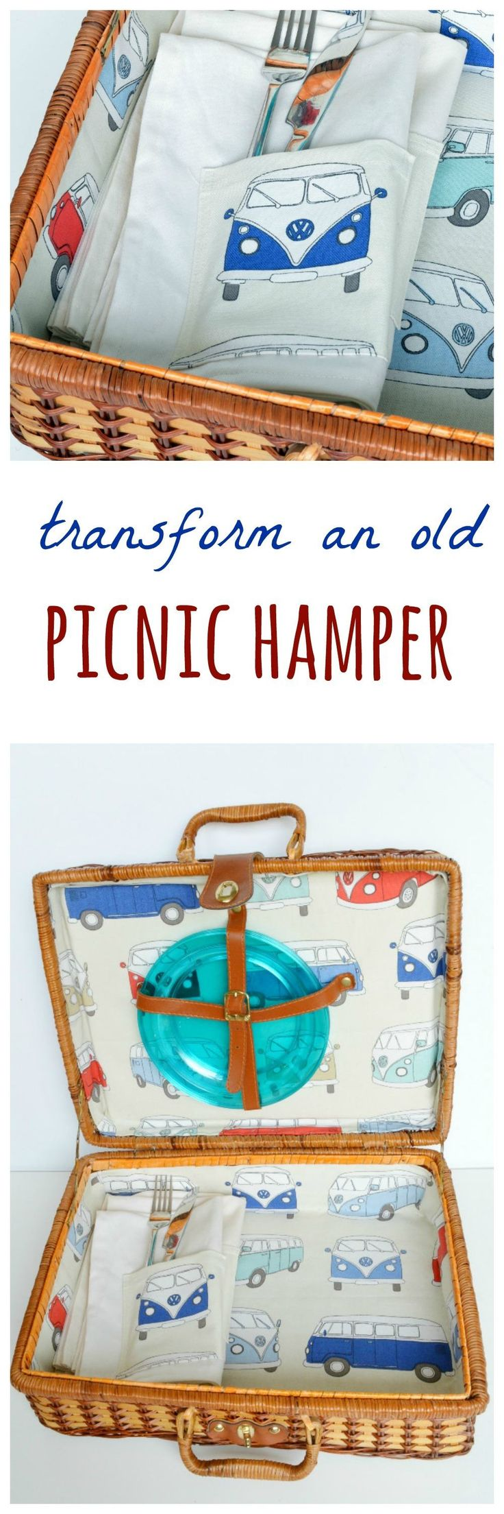 "Transform an old picnic hamper - using fresh fabric and an old belt your picnic hamper will look as good as new. Find a full tutorial for the lining of a picnic hamper here and visit the collaborative board ""DIY bloggers for Volkswagen"" for more inspiring DIY instructions and ideas:https://uk.pinterest.com/volkswagen/diy-bloggers-for-volkswagen/"
