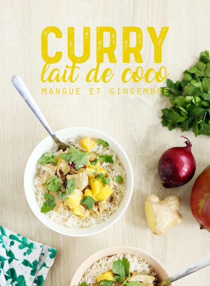 Curry végétarien au lait de coco, mangue et gingembre, coriandre, curry, citron vert