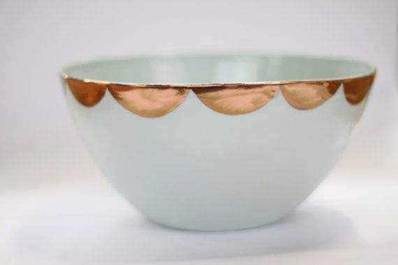 copper scallop large serving bowl - porcelain